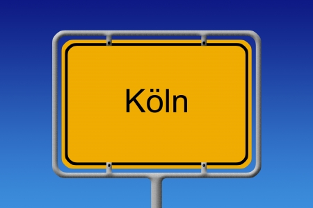 Illustration of a german city limit sign of the city of cologne