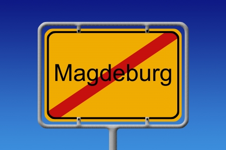 city limit: Illustration of a german city limit sign of the city of magdeburg Stock Photo