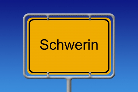 lake district: illustration of a german city limit sign of the city of schwerin Stock Photo