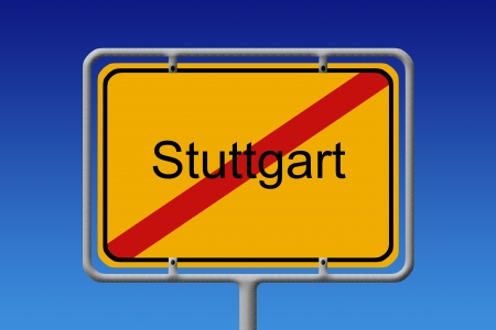 stuttgart: Illustration of a german city limit sign of the city of stuttgart Stock Photo