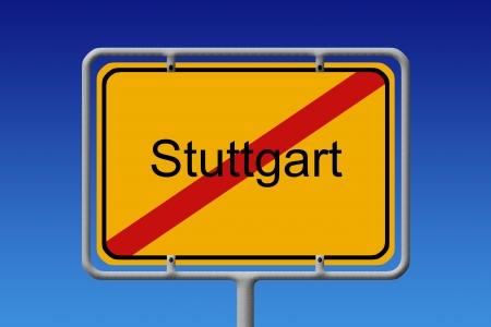 stuttgart: Illustration of a german city limit sign of the city of stuttgart Stock Photo