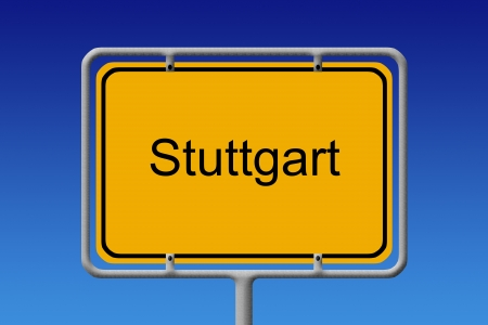 Illustration of a german city limit sign of the city of stuttgart Stock Photo