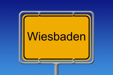 suburbia: Illustration of a german city limit sign of the city of berlin Stock Photo