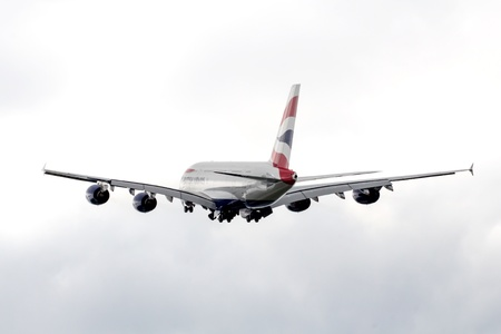 reg: Second ever build British Airways Airbus A380 still with french manufacturer reg. F-WWSG climbing out of the airbus plant at hamburg finkenwerder Editorial