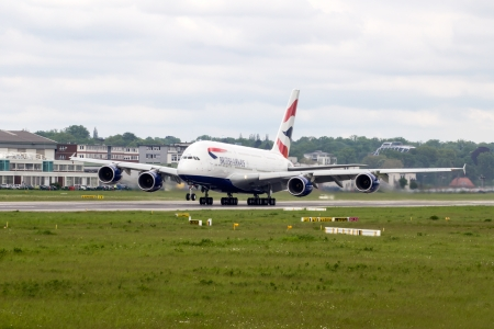 reg: Second ever build British Airways Airbus A380 still with french manufacturer reg. F-WWSG leaving the airbus plant at hamburg finkenwerder for a test flight