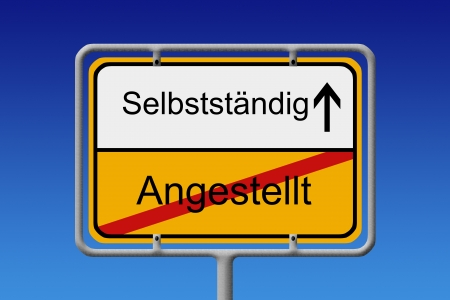 employed: Illustration of a German City Sign with the words angestellt -selbststandig  employed  - self-employed