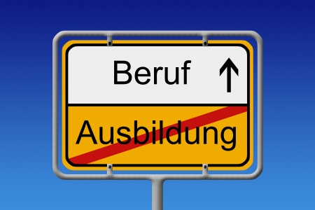 Illustration of a German City Sign with the words ausbildung -beruf education  - job