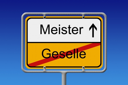 abi: Illustration of a German City Sign with the words meister - geselle   foreman - assistant