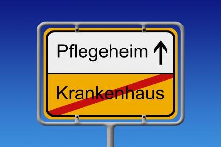 privatization: Illustration of a German City Sign with the words Pflegeheim - Krankenhaus  Hospital -  nursing home