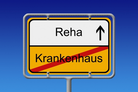 Illustration of a German City Sign with the words Reha - Krankenhaus  Hospital -  rehabilitation