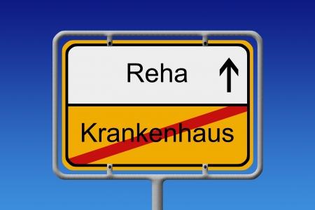 Illustration einer deutschen Stadt-Zeichen mit den Worten Reha - Krankenhaus Hospital - Rehabilitation