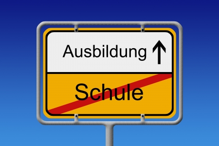 abi: Illustration of a German City Sign with the words Ausbildung - Schule  apprenticeship -  school  Stock Photo