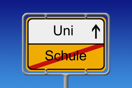 abi: Illustration of a German City Sign with the words Uni - Schule (university -  school) Stock Photo
