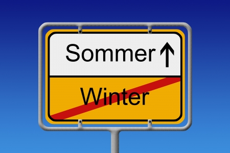 snow tires: Illustration of a german city sign with the words sommer - winter (summer - winter) Stock Photo