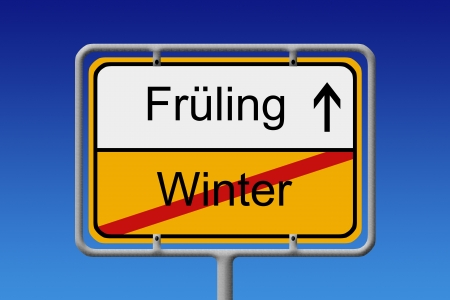 snow tires: Illustration of a german city sign with the words fruhling - winter (spring - winter)