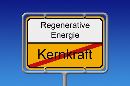 crossed out: Illustration of a German city sign with the word nuklear power  crossed out  renewable energy