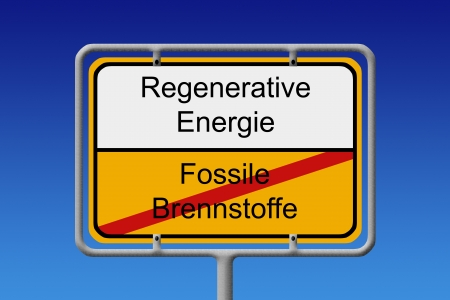fossil fuels: Illustration of a German city sign with the word Fossil fuels  crossed out  renewable energy