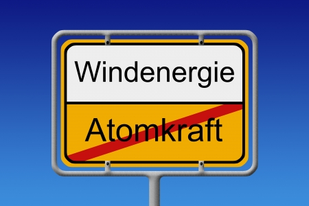 crossed out: Illustration of a German city sign with the word nuclear power  crossed out  wind energy Stock Photo