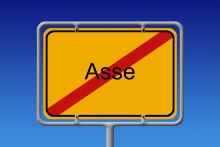 Illustration of a German city sign with the word Asse crossed out  highly controversial abandoned mine used as disposal zone for verry hazardous substance in germany  illustration