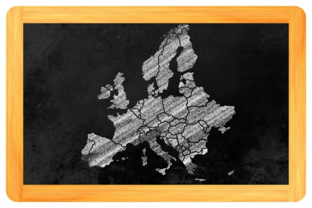 L'Europe avec ses pays unique ?tabli sur un tableau noir