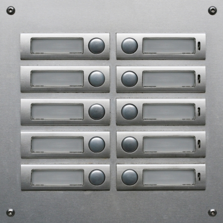 Appartment Building Doorbells on stainless steel board
