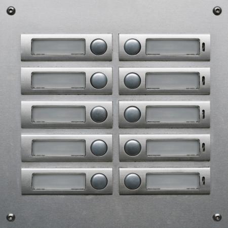 Appartment Building Sonnettes � bord en acier inoxydable Banque d'images