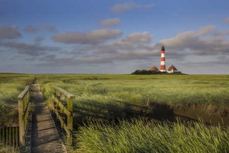 Lighthouse and a small bridge in the salt meadows at the germany north sea coast