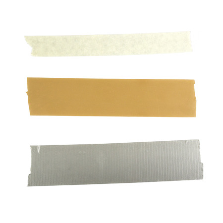 Three pieces of tape duct tape packing tape and adhesive tape isolated on white background Stock Photo