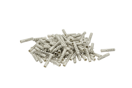 dowel: Gray plastic Dowels isolated on white background
