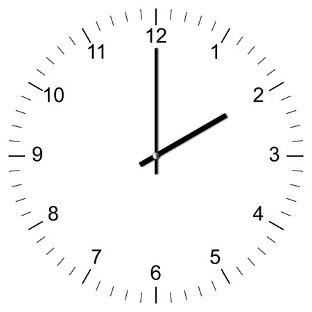 Illustration of a Clock showing 2:00 isolated on white background illustration