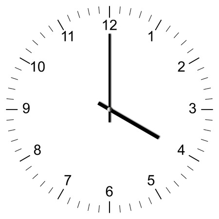 Illustration of a Clock showing 4:00 isolated on white background illustration