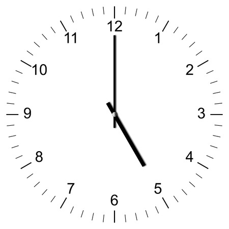 Illustration of a Clock showing 5:00 isolated on white background