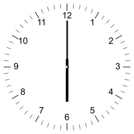 Illustration of a Clock showing 6:00 isolated on white background illustration
