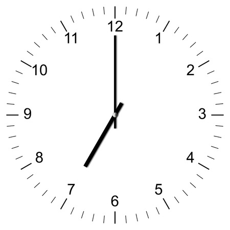 Illustration of a Clock showing 7:00 isolated on white background