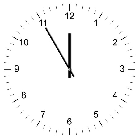 Illustration of a Clock showing 11:00 isolated on white background Stock Photo