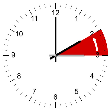 Illustration of a Clock being set from 3:00 to 2:00 at the end of summer time in several European Countries. Isolated on white background