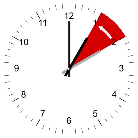 Illustration d'une horloge �tant fix� 3:00-2:00 � la fin de l'heure d'�t� aux �tats-Unis et d'autres pays � travers le monde. Isol� sur fond blanc