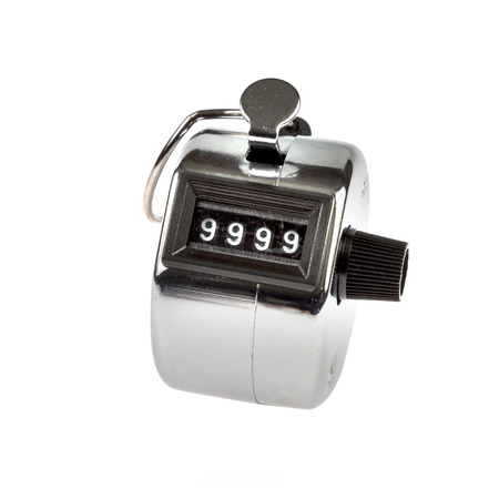 tally: Hand held tally counter showing 9999 isolated on white background