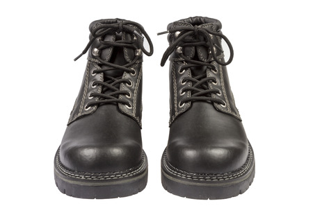 rightwing: Black Laether Boots isolateds on white background Stock Photo