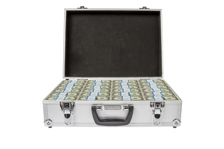 Open Silver Suitecase filled with bundles of dollar notes photo