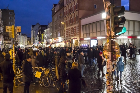 reeperbahn: HAMBURG, GERMANY - JANUARY 11: participants of the demonstration against the police tactics of the last weeks on January 11, 2013 in Hamburg. The toilet brush became the symbol of the peacefull resistance