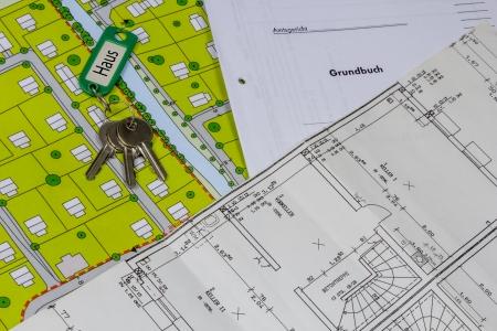 allemand parcelle de plan de construction marqu� et frais de registre foncier avec cl�s de la maison