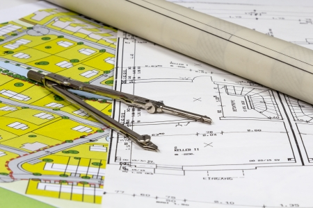 real estate planning: Construction Plans and Plots with compas