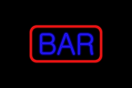 Illuminated Neon Sign With Blue Letters And Red Frame Showing ...