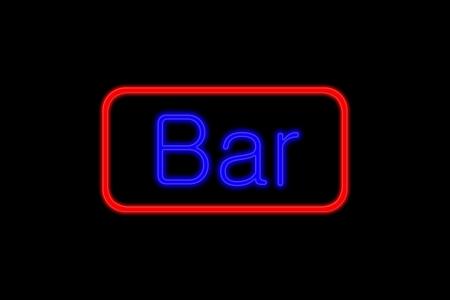 Enseigne lumineuse au n�on avec les lettres bleues et cadre rouge montrant Bar isol� sur fond noir