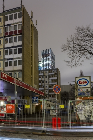 HAMBURG, GERMANY - JANUARY 6: The so called Essohohouses near the Reeperbahn has been evacuated after the residents reported vibrations and shaking walls. on January 9, 2014 in Hamburg Stock Photo - 25476433