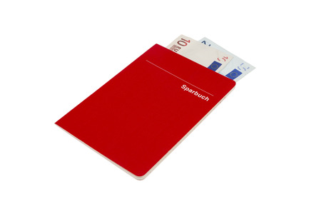red account book Labeled Sparbuch (german Account Book) with euro currency sticking out isolated on white background