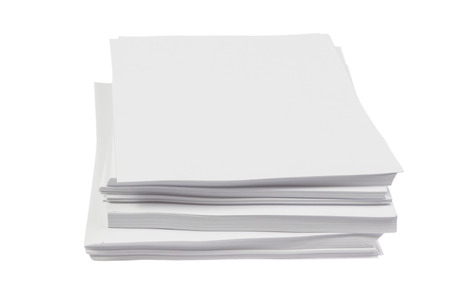 Batch of blank white Din A4 Paper isolated on white