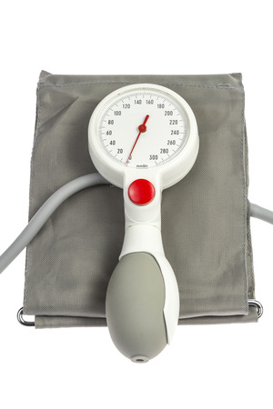 Blood pressure cuff with manometer isolated on white Stock Photo - 25860692