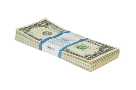 one item: Bundle of one dollar notes with bandrole isolated on white  Stock Photo
